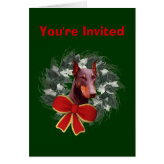 Doberman Christmas Holiday Party Invitation