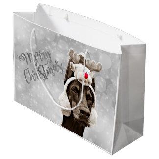 Doberman Christmas Portrait Large Gift Bag