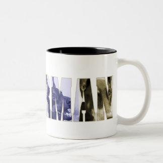 Doberman collage Two-Tone coffee mug
