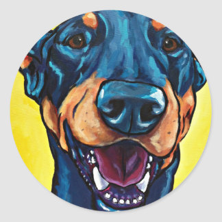 Doberman crop round sticker