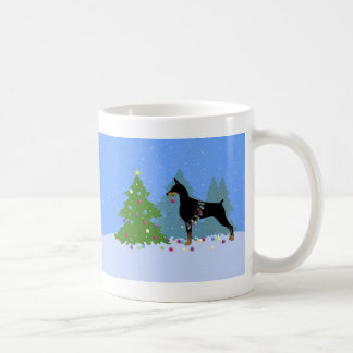 Doberman Decorating Tree in the Forest Coffee Mug