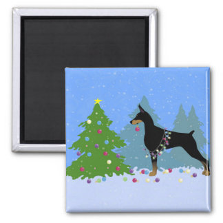 Doberman Decorating Tree in the Forest Magnet