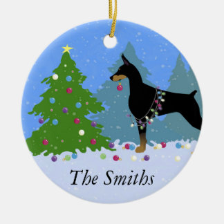 Doberman Decorating Tree in the Forest Round Ceramic Ornament