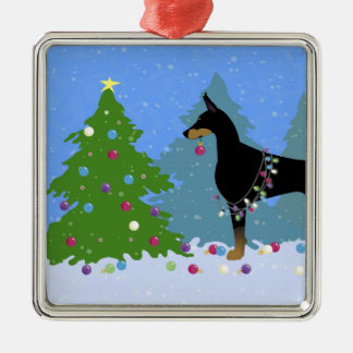 Doberman Decorating Tree in the Forest Silver-Colored Square Ornament