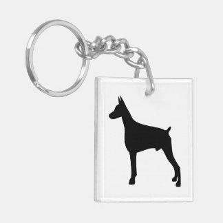 Doberman dog black silhouette, gift keychain