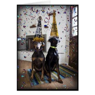 Doberman dog Happy New Year invitation or card