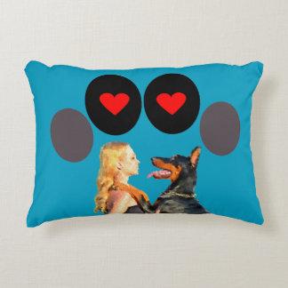 Doberman Dog Hugs Girl With Love-Throw Pillow