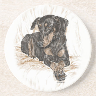 Doberman Dog Natural Ears Coaster