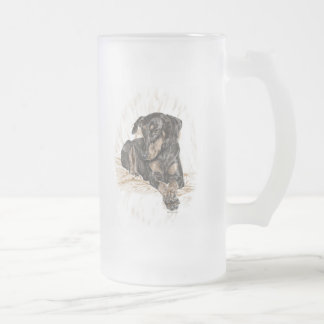 Doberman Dog Natural Ears Frosted Glass Beer Mug
