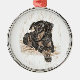 Doberman Dog Natural Ears Metal Ornament