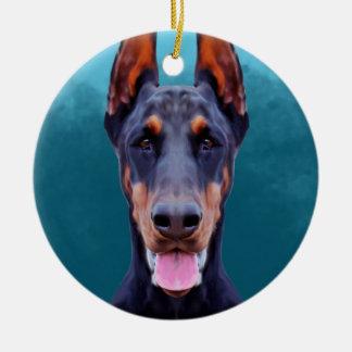 Doberman Dog Portrait Round Ceramic Ornament