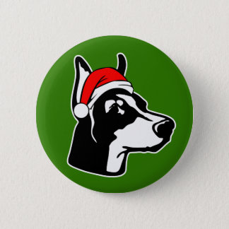 Doberman Dog with Christmas Santa Hat 2 Inch Round Button