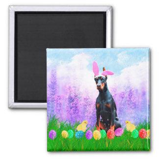Doberman Dog with Easter Eggs Bunny Chicks Magnet