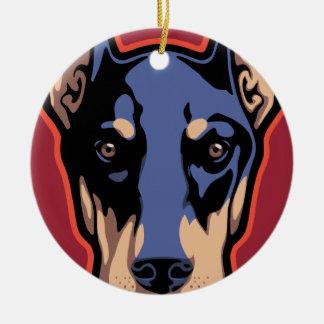 Doberman Face Round Ceramic Ornament