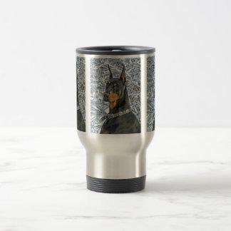 Doberman Frosty Day Close-Up Travel Mug