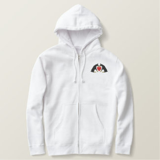 Doberman Heart Embroidered Hooded zip Sweatshirt