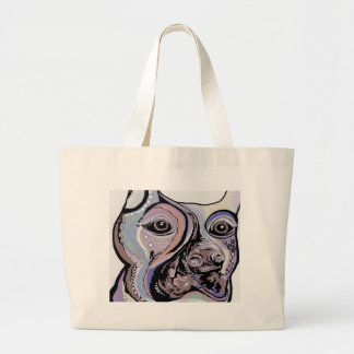 Doberman in Denim Colors Large Tote Bag