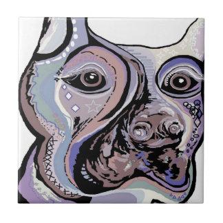 Doberman in Denim Colors Tile