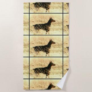 Doberman in Dry Reeds Painting Image Beach Towel