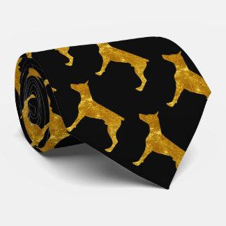 Doberman in Gold Tie