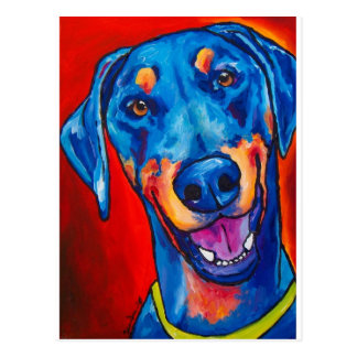 Doberman (natural black and tan) postcard