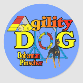 Doberman Pinscher Agility Gifts Classic Round Sticker