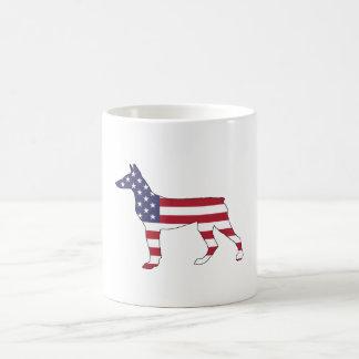 "doberman pinscher ""american flag"" coffee mug"