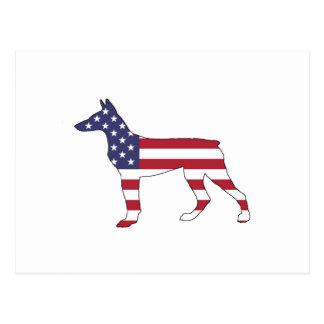 """doberman pinscher """"american flag"""" postcard"""