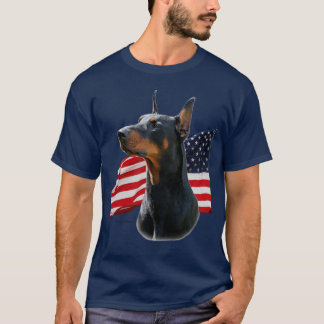 Doberman Pinscher and Belgian Malinois w/ flags T-Shirt