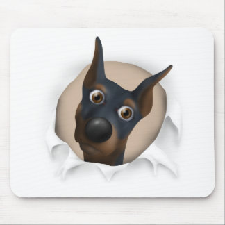 Doberman Pinscher (Black and Tan) Busting Out Mouse Pad