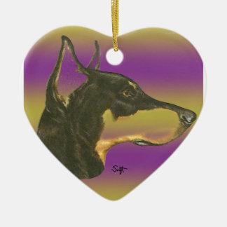 Doberman Pinscher Ceramic Heart Ornament