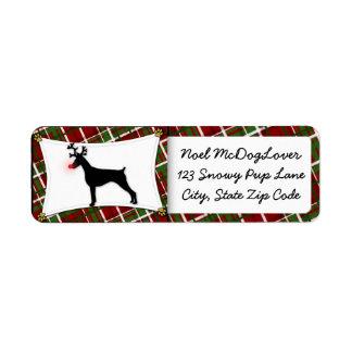 Doberman Pinscher Christmas Return Address Label