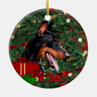 Doberman Pinscher Christmas Round Ceramic Ornament