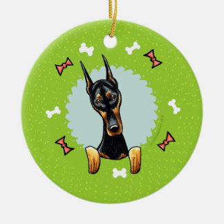 Doberman Pinscher Christmas Wreath Ceramic Ornament