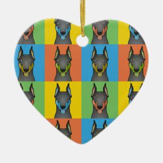 Doberman Pinscher Dog Cartoon Pop-Art Ceramic Heart Ornament