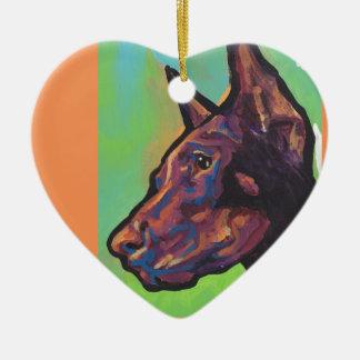 Doberman Pinscher Dog Pop Art Ceramic Heart Ornament
