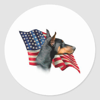 Doberman Pinscher Flag Classic Round Sticker