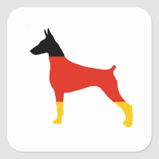 doberman pinscher germany-flag silhouette square sticker