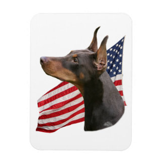 Doberman Pinscher head- red Magnet