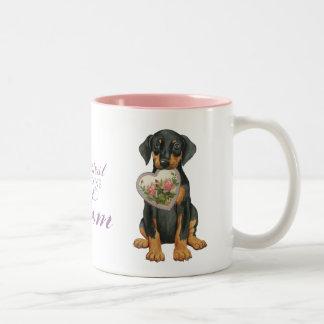 Doberman Pinscher Heart Mom Two-Tone Coffee Mug