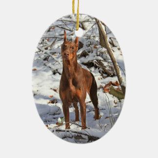 Doberman Pinscher in Snow Ornament