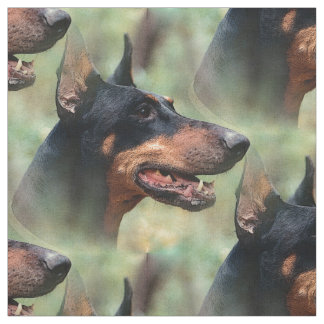 Doberman Pinscher in the Woods Fabric