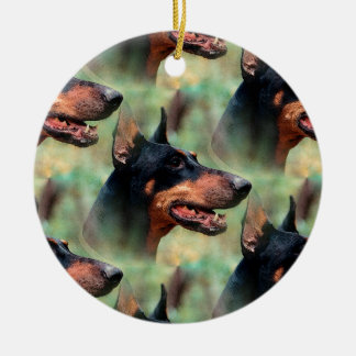 Doberman Pinscher in the Woods Round Ceramic Ornament