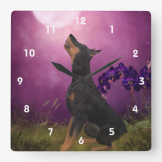 Doberman Pinscher Looking At Moon Animal Art Square Wall Clock