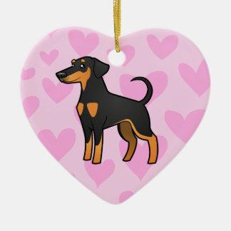 Doberman Pinscher Love (floppy ears) Ceramic Heart Ornament
