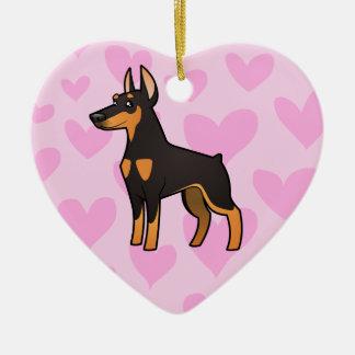 Doberman Pinscher Love (pointy ears) Ceramic Heart Ornament