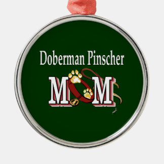 Doberman Pinscher Mom Gifts Silver-Colored Round Ornament