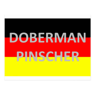 doberman pinscher name on germany-flag postcard