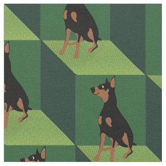 Doberman Pinscher on Green Cubes Fabric