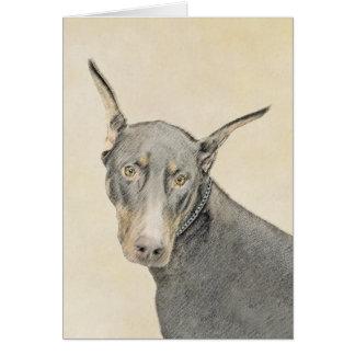 Doberman Pinscher Painting - Original Dog Art Card